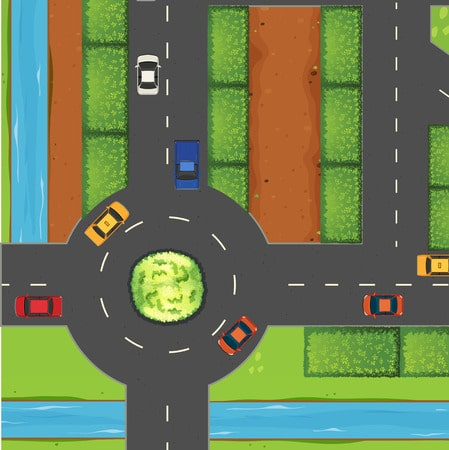 43084787 - top view of street and roundabout illustration